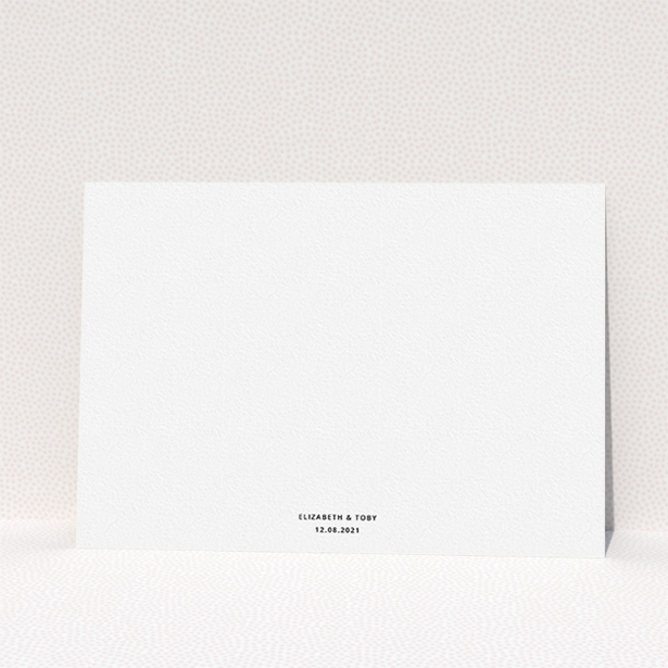 """A wedding save the date design called """"Sans Serif"""". It is an A5 save the date in a landscape orientation. It is a photographic wedding save the date with room for 1 photo. """"Sans Serif"""" is available as a flat save the date, with mainly white colouring."""