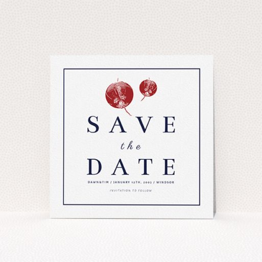 """A wedding save the date design called """"Shanghai Nights"""". It is a square (148mm x 148mm) save the date in a square orientation. """"Shanghai Nights"""" is available as a flat save the date, with tones of red and white."""