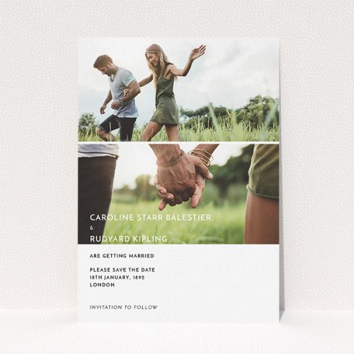 """A wedding save the date design named """"Side-by-side"""". It is an A5 save the date in a portrait orientation. It is a photographic wedding save the date with room for 2 photos. """"Side-by-side"""" is available as a flat save the date, with mainly white colouring."""