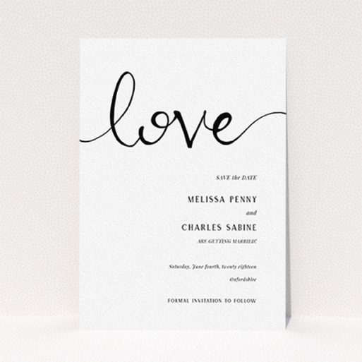 """A wedding save the date design titled """"Simply Love"""". It is an A6 save the date in a portrait orientation. """"Simply Love"""" is available as a flat save the date, with tones of white and black."""