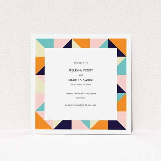 """A wedding save the date named """"Sloane Squares"""". It is a square (148mm x 148mm) save the date in a square orientation. """"Sloane Squares"""" is available as a flat save the date, with mainly orange colouring."""