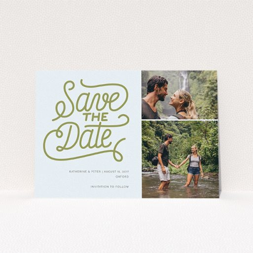"""A wedding save the date named """"Square of Typography Landscape"""". It is an A5 save the date in a landscape orientation. It is a photographic wedding save the date with room for 2 photos. """"Square of Typography Landscape"""" is available as a flat save the date, with tones of blue and faded gold."""