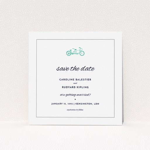 """A wedding save the date design called """"Tandem sheet"""". It is a square (148mm x 148mm) save the date in a square orientation. """"Tandem sheet"""" is available as a flat save the date, with tones of white and green."""