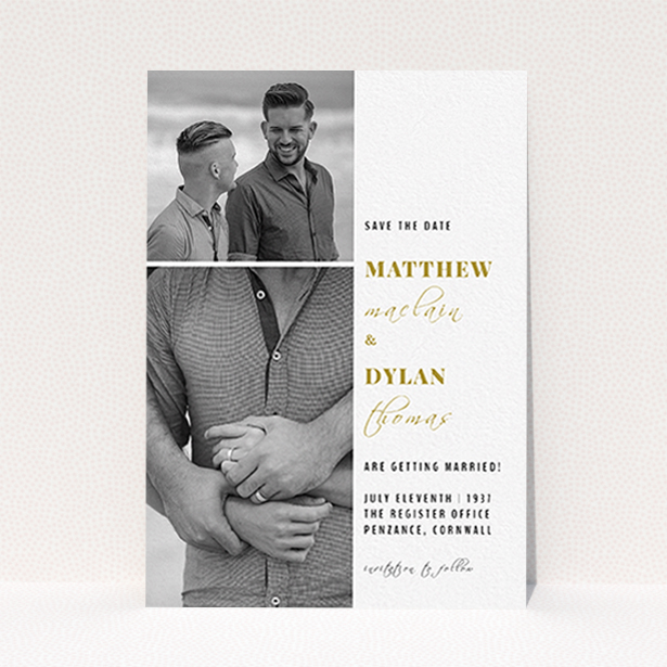"""A wedding save the date design titled """"Together again"""". It is an A6 save the date in a portrait orientation. It is a photographic wedding save the date with room for 2 photos. """"Together again"""" is available as a flat save the date, with tones of white and gold."""