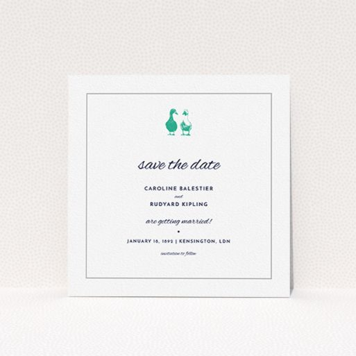 """A wedding save the date design titled """"Two little ducks"""". It is a square (148mm x 148mm) save the date in a square orientation. """"Two little ducks"""" is available as a flat save the date, with tones of white and green."""