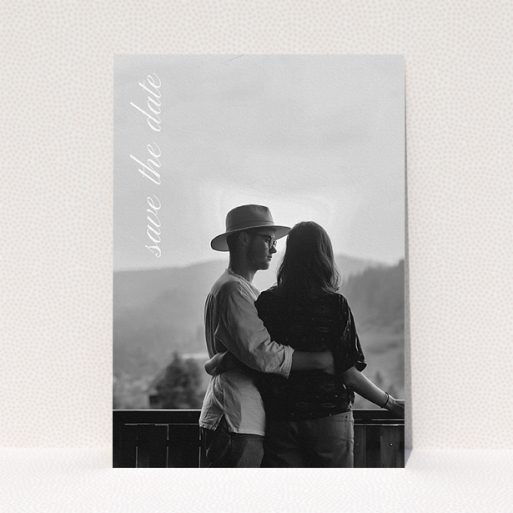 """A wedding save the date template titled """"Up the side"""". It is an A5 save the date in a portrait orientation. It is a photographic wedding save the date with room for 1 photo. """"Up the side"""" is available as a flat save the date, with mainly white colouring."""