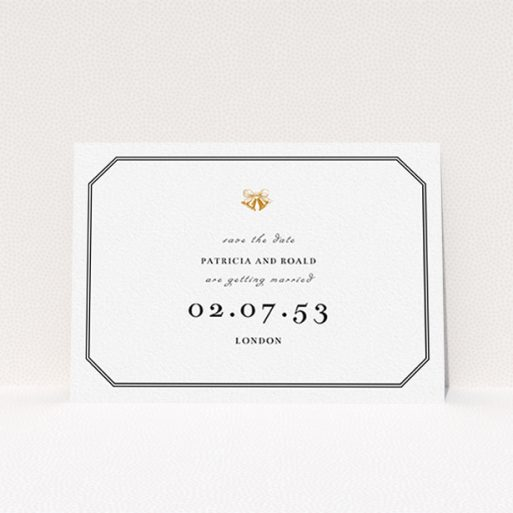 """A wedding save the date template titled """"Wedding bells"""". It is an A6 save the date in a landscape orientation. """"Wedding bells"""" is available as a flat save the date, with tones of black and white."""