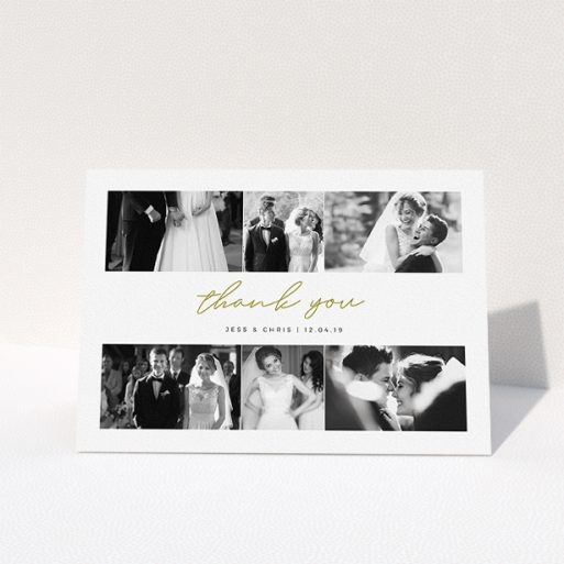 """A wedding thank you card template titled """"3-on-3"""". It is an A5 card in a landscape orientation. It is a photographic wedding thank you card with room for 3 photos. """"3-on-3"""" is available as a folded card, with tones of gold and white."""