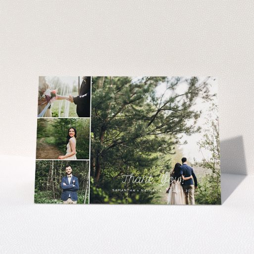 """A wedding thank you card design titled """"4 Photo Arrangement"""". It is an A5 card in a landscape orientation. It is a photographic wedding thank you card with room for 4 photos. """"4 Photo Arrangement"""" is available as a folded card, with mainly white colouring."""