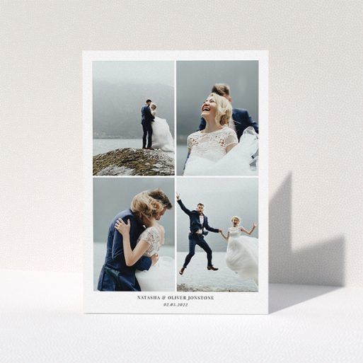 """A wedding thank you card template titled """"4 Photo Frame"""". It is an A5 card in a portrait orientation. It is a photographic wedding thank you card with room for 4 photos. """"4 Photo Frame"""" is available as a folded card, with mainly white colouring."""