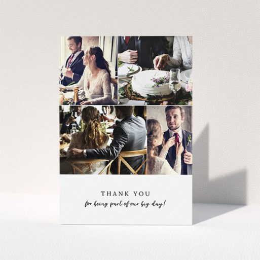 """A wedding thank you card named """"4 Photo Strip"""". It is an A5 card in a portrait orientation. It is a photographic wedding thank you card with room for 4 photos. """"4 Photo Strip"""" is available as a folded card, with mainly white colouring."""