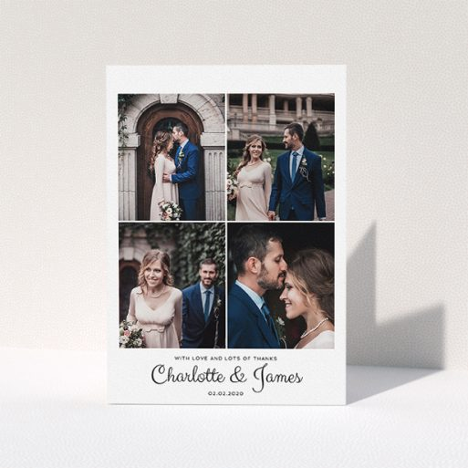 """A wedding thank you card named """"4 Photo Thanks"""". It is an A5 card in a portrait orientation. It is a photographic wedding thank you card with room for 4 photos. """"4 Photo Thanks"""" is available as a folded card, with mainly white colouring."""