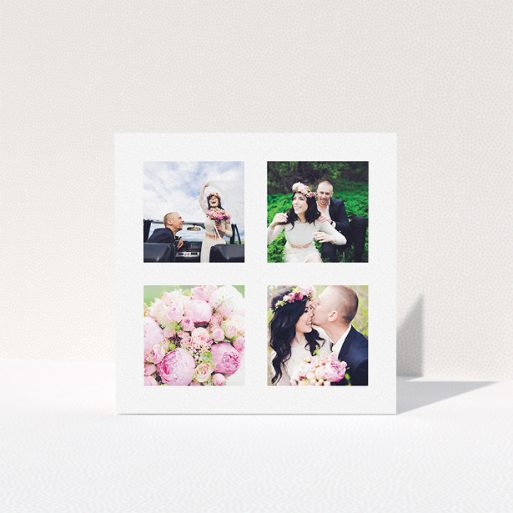 """A wedding thank you card design named """"4 Quadrants """". It is a square (148mm x 148mm) card in a square orientation. It is a photographic wedding thank you card with room for 3 photos. """"4 Quadrants """" is available as a folded card, with mainly white colouring."""