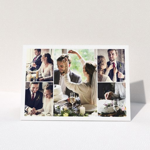 """A wedding thank you card template titled """"5 Photo Arrangement"""". It is an A5 card in a landscape orientation. It is a photographic wedding thank you card with room for 5 photos. """"5 Photo Arrangement"""" is available as a folded card, with mainly white colouring."""