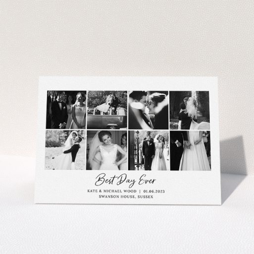 """A wedding thank you card template titled """"8 Photo Arrangement"""". It is an A5 card in a landscape orientation. It is a photographic wedding thank you card with room for 8 photos. """"8 Photo Arrangement"""" is available as a folded card, with mainly white colouring."""