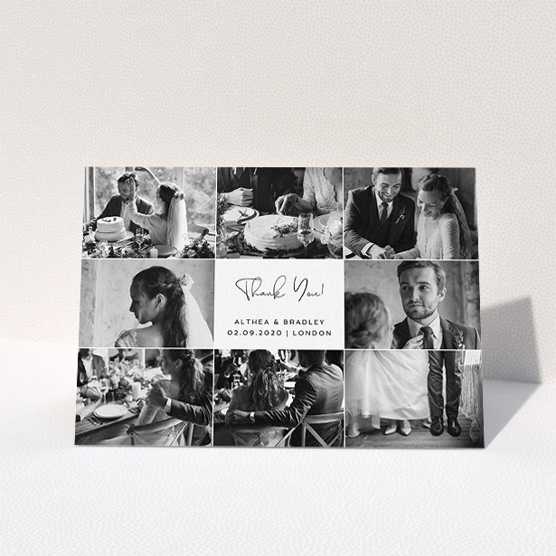 """A wedding thank you card template titled """"A Photo Photo Frame"""". It is an A5 card in a landscape orientation. It is a photographic wedding thank you card with room for 8 photos. """"A Photo Photo Frame"""" is available as a folded card, with mainly white colouring."""