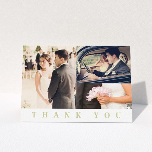 """A wedding thank you card template titled """"A world without walls"""". It is an A5 card in a landscape orientation. It is a photographic wedding thank you card with room for 3 photos. """"A world without walls"""" is available as a folded card, with tones of white and gold."""