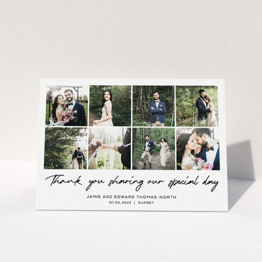 """A wedding thank you card design titled """"All the Wedding Photos"""". It is an A5 card in a landscape orientation. It is a photographic wedding thank you card with room for 8 photos. """"All the Wedding Photos"""" is available as a folded card, with mainly white colouring."""