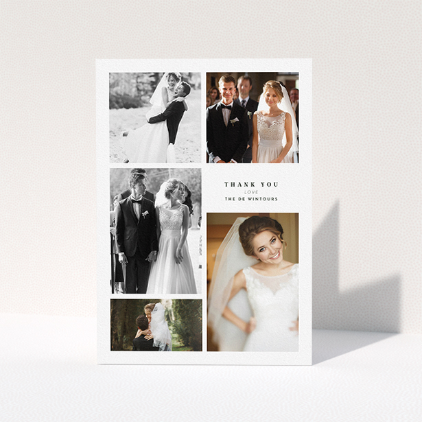 """A wedding thank you card design titled """"All the worlds a stage"""". It is an A5 card in a portrait orientation. It is a photographic wedding thank you card with room for 3 photos. """"All the worlds a stage"""" is available as a folded card, with tones of black and white."""