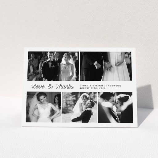 """A wedding thank you card design named """"An Uneven 5 Photos"""". It is an A5 card in a landscape orientation. It is a photographic wedding thank you card with room for 5 photos. """"An Uneven 5 Photos"""" is available as a folded card, with mainly white colouring."""