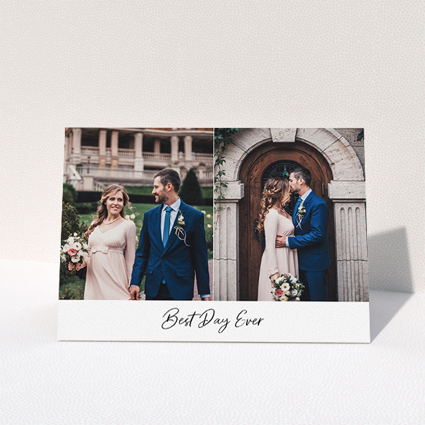 """A wedding thank you card design called """"Best. Wedding. Ever."""". It is an A5 card in a landscape orientation. It is a photographic wedding thank you card with room for 2 photos. """"Best. Wedding. Ever."""" is available as a folded card, with mainly white colouring."""