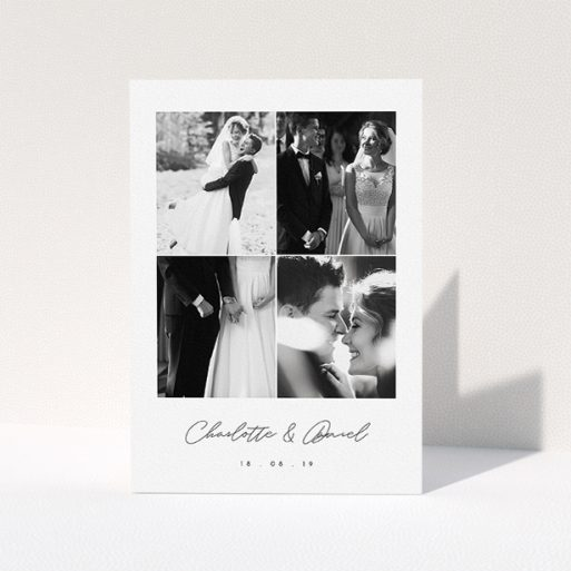 """A wedding thank you card named """"Box Chic"""". It is an A5 card in a portrait orientation. It is a photographic wedding thank you card with room for 3 photos. """"Box Chic"""" is available as a folded card, with tones of black and white."""