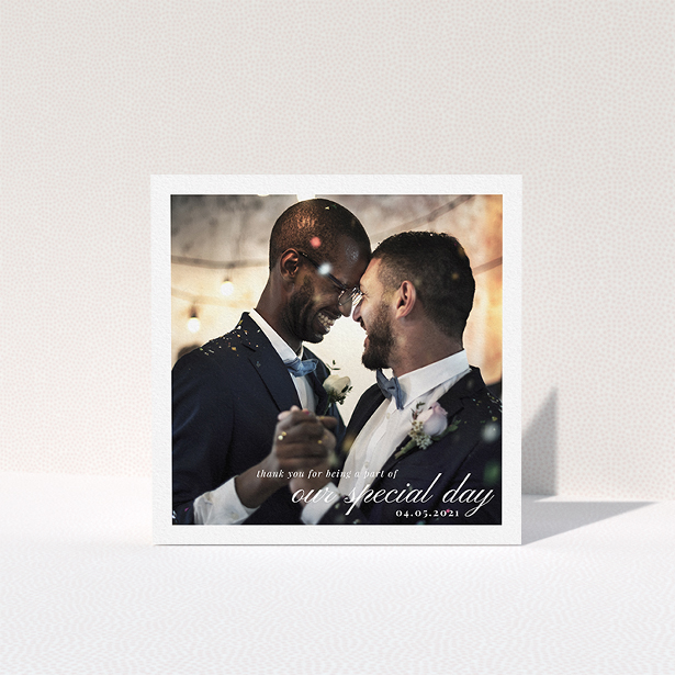"""A wedding thank you card template titled """"Central Park Photo"""". It is a square (148mm x 148mm) card in a square orientation. It is a photographic wedding thank you card with room for 1 photo. """"Central Park Photo"""" is available as a folded card, with mainly white colouring."""