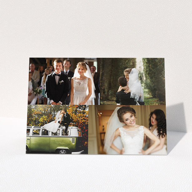 """A wedding thank you card design named """"Cheek by jowl"""". It is an A5 card in a landscape orientation. It is a photographic wedding thank you card with room for 3 photos. """"Cheek by jowl"""" is available as a folded card, with tones of black and white."""