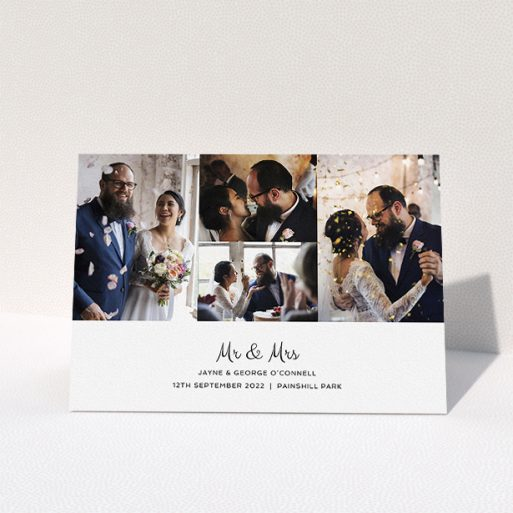 """A wedding thank you card design named """"Cheek by Jowl"""". It is an A5 card in a landscape orientation. It is a photographic wedding thank you card with room for 4 photos. """"Cheek by Jowl"""" is available as a folded card, with mainly white colouring."""