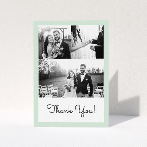 """A wedding thank you card named """"Duck Shell Green Thanks"""". It is an A6 card in a portrait orientation. It is a photographic wedding thank you card with room for 3 photos. """"Duck Shell Green Thanks"""" is available as a folded card, with tones of green and white."""