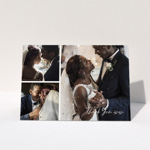 """A wedding thank you card design named """"In Thirds"""". It is an A5 card in a landscape orientation. It is a photographic wedding thank you card with room for 3 photos. """"In Thirds"""" is available as a folded card, with mainly white colouring."""