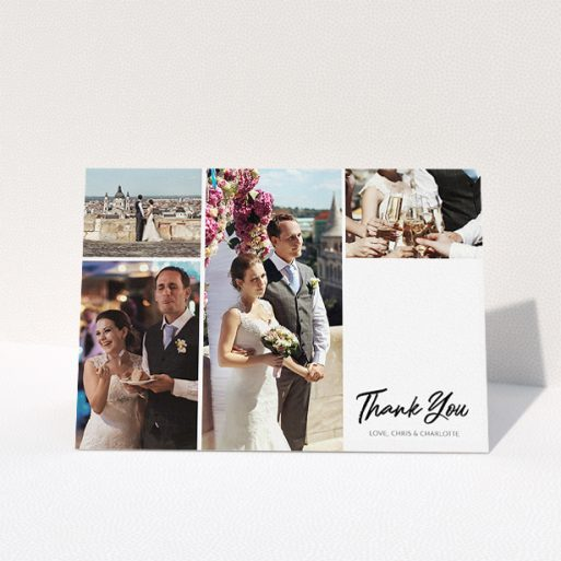 """A wedding thank you card called """"It just works"""". It is an A5 card in a landscape orientation. It is a photographic wedding thank you card with room for 3 photos. """"It just works"""" is available as a folded card, with tones of black and white."""