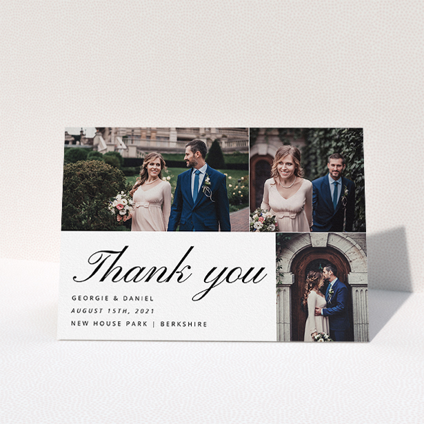 """A wedding thank you card design called """"Italic Photo Thanks"""". It is an A5 card in a landscape orientation. It is a photographic wedding thank you card with room for 3 photos. """"Italic Photo Thanks"""" is available as a folded card, with mainly white colouring."""