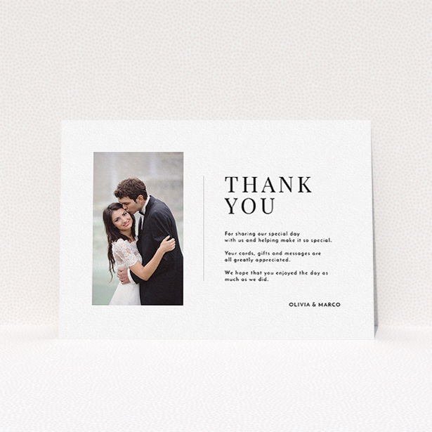 """A wedding thank you card design titled """"Just a little thank you"""". It is an A5 card in a landscape orientation. It is a photographic wedding thank you card with room for 1 photo. """"Just a little thank you"""" is available as a flat card, with mainly white colouring."""