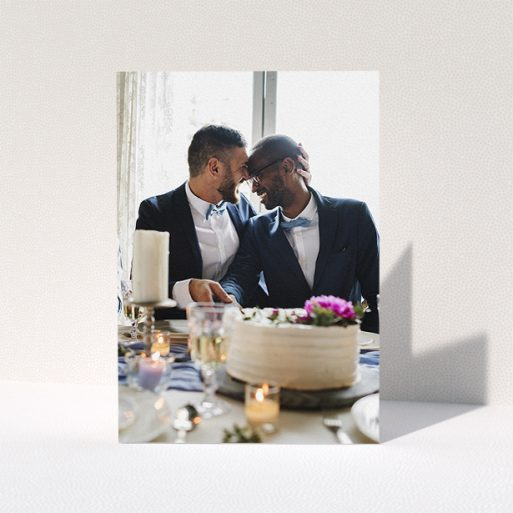 """A wedding thank you card design titled """"Just a Photo"""". It is an A5 card in a portrait orientation. It is a photographic wedding thank you card with room for 1 photo. """"Just a Photo"""" is available as a folded card."""