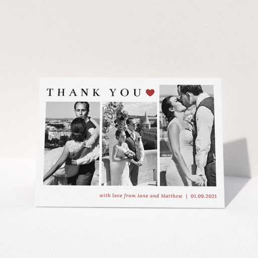 """A wedding thank you card design called """"Landscape Photo Thank You"""". It is an A5 card in a landscape orientation. It is a photographic wedding thank you card with room for 3 photos. """"Landscape Photo Thank You"""" is available as a folded card, with tones of white and red."""