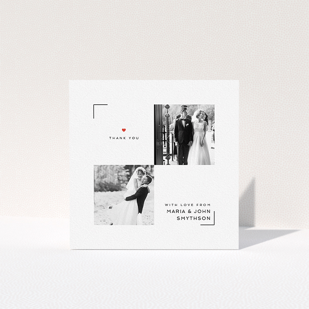 """A wedding thank you card called """"Modern Corner Thank You"""". It is a square (148mm x 148mm) card in a square orientation. It is a photographic wedding thank you card with room for 2 photos. """"Modern Corner Thank You"""" is available as a folded card, with tones of white and red."""