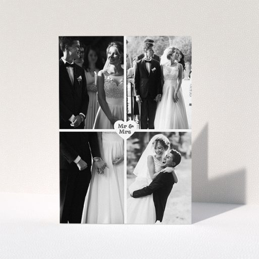 """A wedding thank you card design titled """"Monochrome Heart"""". It is an A5 card in a portrait orientation. It is a photographic wedding thank you card with room for 4 photos. """"Monochrome Heart"""" is available as a folded card, with mainly white colouring."""