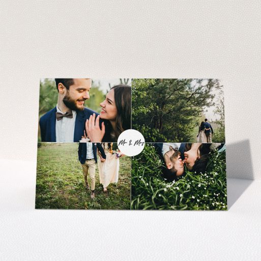 """A wedding thank you card template titled """"Mr and Mrs"""". It is an A5 card in a landscape orientation. It is a photographic wedding thank you card with room for 4 photos. """"Mr and Mrs"""" is available as a folded card, with mainly white colouring."""