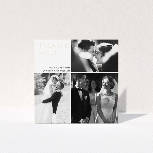 """A wedding thank you card called """"Onto quarters"""". It is a square (148mm x 148mm) card in a square orientation. It is a photographic wedding thank you card with room for 3 photos. """"Onto quarters"""" is available as a folded card, with mainly white colouring."""