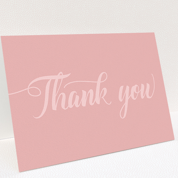 """A wedding thank you card design called """"Pastel pink calligraphy"""". It is an A5 card in a landscape orientation. """"Pastel pink calligraphy"""" is available as a folded card, with mainly pink colouring."""