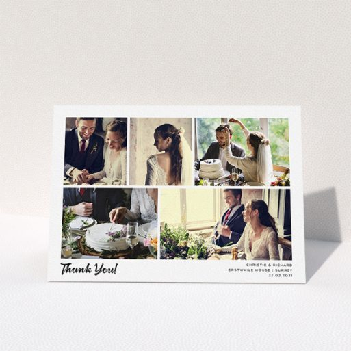 """A wedding thank you card called """"Photo Album Card"""". It is an A5 card in a landscape orientation. It is a photographic wedding thank you card with room for 5 photos. """"Photo Album Card"""" is available as a folded card, with mainly white colouring."""