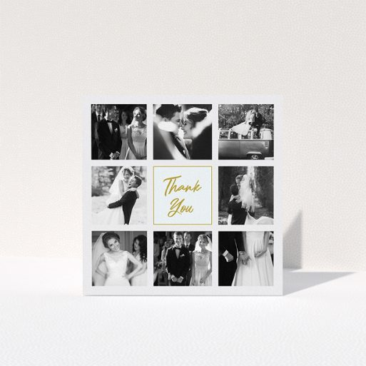 """A wedding thank you card design named """"Pieces of eight"""". It is a square (148mm x 148mm) card in a square orientation. It is a photographic wedding thank you card with room for 3 photos. """"Pieces of eight"""" is available as a folded card, with tones of gold and light blue."""