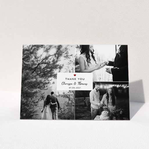 """A wedding thank you card template titled """"Portrait and Landscapes"""". It is an A5 card in a landscape orientation. It is a photographic wedding thank you card with room for 3 photos. """"Portrait and Landscapes"""" is available as a folded card, with tones of white and red."""