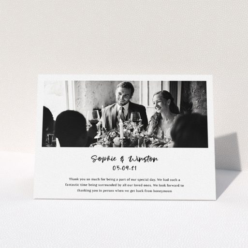 """A wedding thank you card called """"Printed Thank You Message"""". It is an A5 card in a landscape orientation. It is a photographic wedding thank you card with room for 1 photo. """"Printed Thank You Message"""" is available as a folded card, with mainly white colouring."""