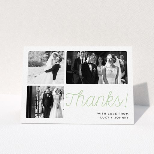 """A wedding thank you card template titled """"Rounded Photo Tryptic"""". It is an A6 card in a landscape orientation. It is a photographic wedding thank you card with room for 3 photos. """"Rounded Photo Tryptic"""" is available as a folded card, with tones of white and green."""