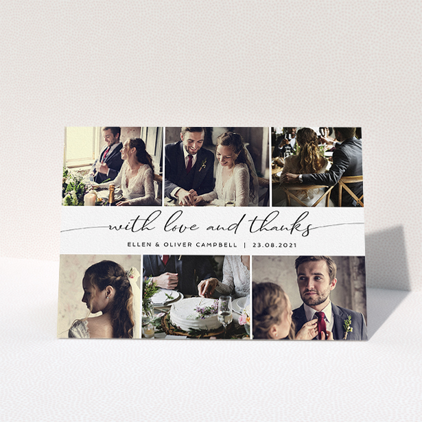 """A wedding thank you card design named """"Script Phot Centre"""". It is an A5 card in a landscape orientation. It is a photographic wedding thank you card with room for 6 photos. """"Script Phot Centre"""" is available as a folded card, with mainly white colouring."""