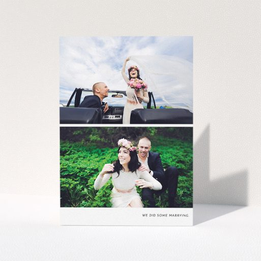 """A wedding thank you card named """"Split into two"""". It is an A5 card in a portrait orientation. It is a photographic wedding thank you card with room for 2 photos. """"Split into two"""" is available as a folded card, with mainly white colouring."""