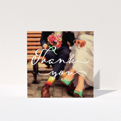 """A wedding thank you card template titled """"Thank you smoothie"""". It is a square (148mm x 148mm) card in a square orientation. It is a photographic wedding thank you card with room for 1 photo. """"Thank you smoothie"""" is available as a folded card, with mainly white colouring."""