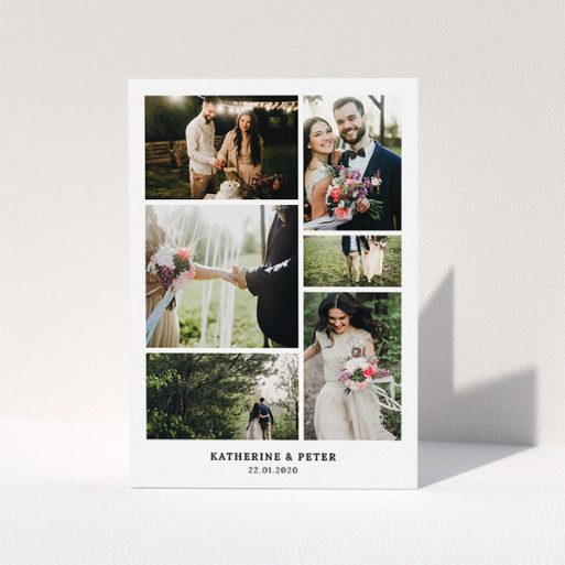"""A wedding thank you card design called """"Thanks with Lots of Photos"""". It is an A5 card in a portrait orientation. It is a photographic wedding thank you card with room for 6 photos. """"Thanks with Lots of Photos"""" is available as a folded card, with mainly white colouring."""